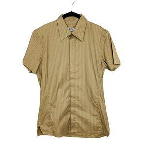 Bikkemberg  Short Sleeve Brown Striped Italy Shirt